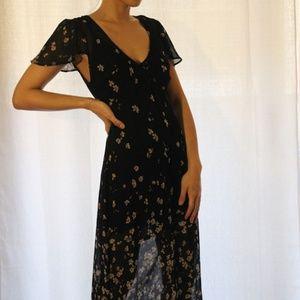 RARE Reformation Black Floral Floor Length Dress